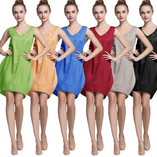 New Fashion Women Tank Mini Dress V Neck High Low Hem Loose Casual Asymmetric Shift DressApparel &amp; Jewelry<br>New Fashion Women Tank Mini Dress V Neck High Low Hem Loose Casual Asymmetric Shift Dress<br>