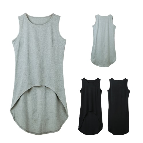 Women Longline Tank Top Vest Sleeveless Asymmetrical Hem O Neck Cropped T-Shirt Casual Top Black/GreyApparel &amp; Jewelry<br>Women Longline Tank Top Vest Sleeveless Asymmetrical Hem O Neck Cropped T-Shirt Casual Top Black/Grey<br>