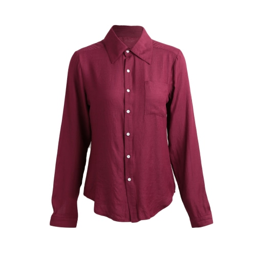 Fashion Women Shirt Point Collar Long Sleeve Button Pocket Solid Color BlouseApparel &amp; Jewelry<br>Fashion Women Shirt Point Collar Long Sleeve Button Pocket Solid Color Blouse<br>