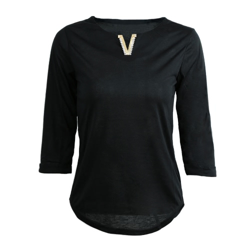 Casual Metal Decoration V-Neck Half Sleeve Womens Solid Color T-ShirtApparel &amp; Jewelry<br>Casual Metal Decoration V-Neck Half Sleeve Womens Solid Color T-Shirt<br>