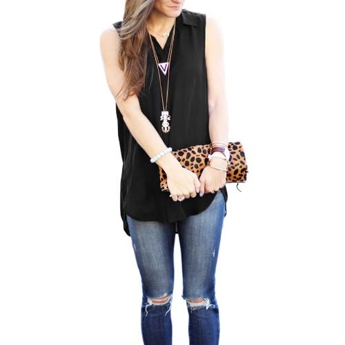 New Fashion Women Blouse Chiffon Sleeveless Asymmetrical Hem Turn-Down Collar Shirt Tops Burgundy/BlackApparel &amp; Jewelry<br>New Fashion Women Blouse Chiffon Sleeveless Asymmetrical Hem Turn-Down Collar Shirt Tops Burgundy/Black<br>