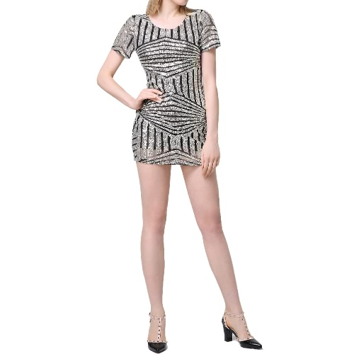 New Sexy Women Sequin Bodycon Dress Short Sleeve Backless Party Evening Mini Club Dress Gold/SilverApparel &amp; Jewelry<br>New Sexy Women Sequin Bodycon Dress Short Sleeve Backless Party Evening Mini Club Dress Gold/Silver<br>
