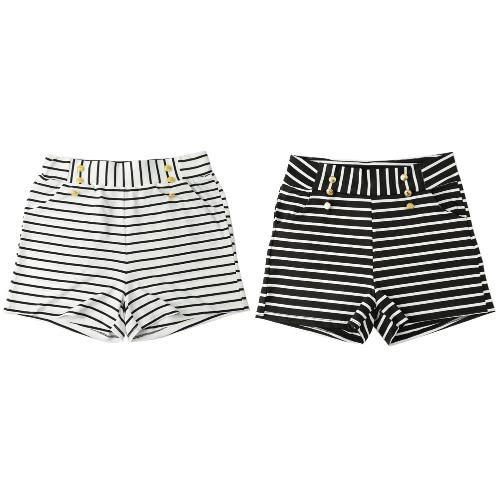 Women Shorts Summer Striped Shorts High Elastic Waist Ladies Casual Pants Black/WhiteApparel &amp; Jewelry<br>Women Shorts Summer Striped Shorts High Elastic Waist Ladies Casual Pants Black/White<br>