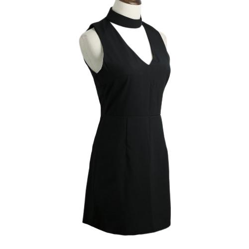 New Fashion Women Mini Dress V-Neck Sleeveless Back Zipper Sexy A-Line Dress BlackApparel &amp; Jewelry<br>New Fashion Women Mini Dress V-Neck Sleeveless Back Zipper Sexy A-Line Dress Black<br>