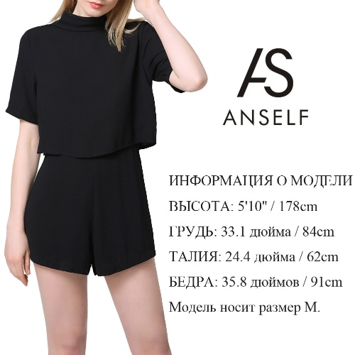 New Fashion Women Jumpsuit Cut Out Back Turtleneck Short Sleeve Solid Casual Loose Playsuit Rompers Culotte BlackApparel &amp; Jewelry<br>New Fashion Women Jumpsuit Cut Out Back Turtleneck Short Sleeve Solid Casual Loose Playsuit Rompers Culotte Black<br>