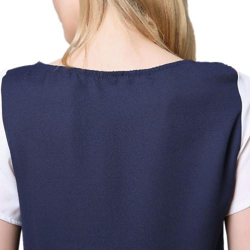New Fashion Women Chiffon T-Shirt Splice Round Neck Short Sleeve Casual Elegant Tops Tee Shirt Dark BlueApparel &amp; Jewelry<br>New Fashion Women Chiffon T-Shirt Splice Round Neck Short Sleeve Casual Elegant Tops Tee Shirt Dark Blue<br>
