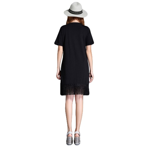 New Summer Women Plus Size Dress Floral Embroidery Tassel Hem Short Sleeve Loose Elegant Straight Dress BlackApparel &amp; Jewelry<br>New Summer Women Plus Size Dress Floral Embroidery Tassel Hem Short Sleeve Loose Elegant Straight Dress Black<br>