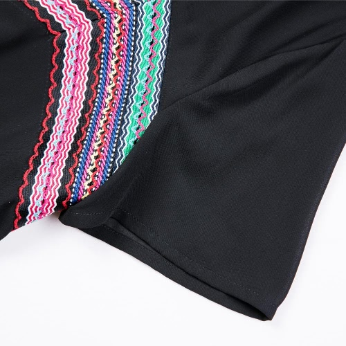 Fashion Women Chiffon Dress Plus Size Embroidered Ribbon Short Sleeves O Neck H-Line Loose Straight Mini Dress BlackApparel &amp; Jewelry<br>Fashion Women Chiffon Dress Plus Size Embroidered Ribbon Short Sleeves O Neck H-Line Loose Straight Mini Dress Black<br>