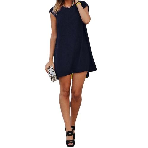 Fashion Women Chiffon Mini Dress Splicing O Neck Sleeveless Partial Lined Beach Dress White/Blue/YellowApparel &amp; Jewelry<br>Fashion Women Chiffon Mini Dress Splicing O Neck Sleeveless Partial Lined Beach Dress White/Blue/Yellow<br>