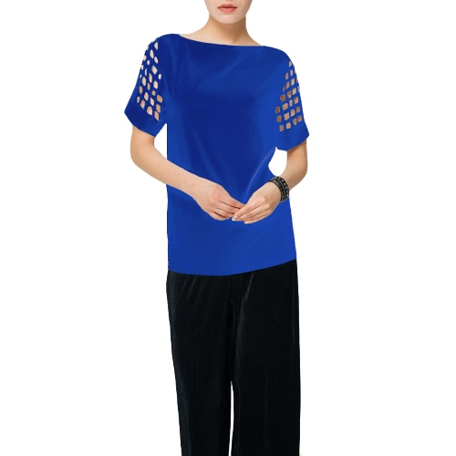 New Fashion Women Plus Size Blouse Slash Neck Hollow Out Short Sleeve Loose Solid TopApparel &amp; Jewelry<br>New Fashion Women Plus Size Blouse Slash Neck Hollow Out Short Sleeve Loose Solid Top<br>