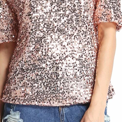 New Sexy Women Sequin Sparkle T-Shirt Glitter Half Sleeve Loose Cocktail Party Bling Shiny Top PinkApparel &amp; Jewelry<br>New Sexy Women Sequin Sparkle T-Shirt Glitter Half Sleeve Loose Cocktail Party Bling Shiny Top Pink<br>