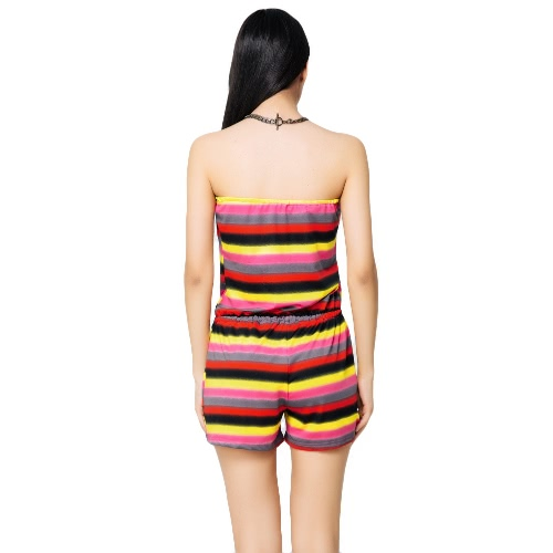 New Fashion Women Slash Neck Jumpsuit Contrast Stripe Drawstring Waist Romper Playsuit Green/RedApparel &amp; Jewelry<br>New Fashion Women Slash Neck Jumpsuit Contrast Stripe Drawstring Waist Romper Playsuit Green/Red<br>