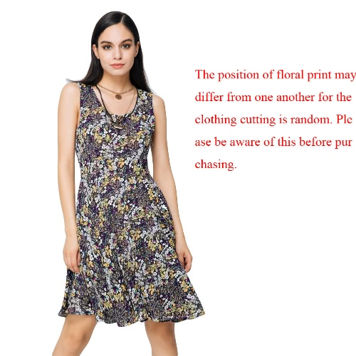 New Fashion Women Dress Floral Print Color Block Round Neck Sleeveless Mini Vintage One-Piece YellowApparel &amp; Jewelry<br>New Fashion Women Dress Floral Print Color Block Round Neck Sleeveless Mini Vintage One-Piece Yellow<br>