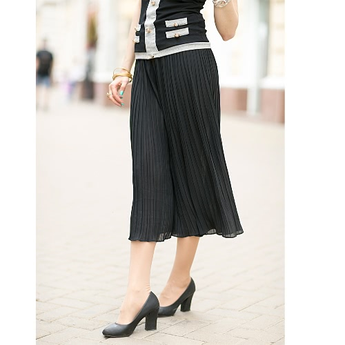 New Fashion Women Wide Leg Pants Pleated Chiffon Elastic Waist Loose Capris Flare Cropped Trousers Culottes BlackApparel &amp; Jewelry<br>New Fashion Women Wide Leg Pants Pleated Chiffon Elastic Waist Loose Capris Flare Cropped Trousers Culottes Black<br>