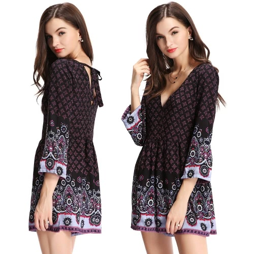 New Fashion Women Print Jumpsuit Deep V Neck 3/4 Sleeve Back Zip Self-tie Strap Romper Playsuit BlackApparel &amp; Jewelry<br>New Fashion Women Print Jumpsuit Deep V Neck 3/4 Sleeve Back Zip Self-tie Strap Romper Playsuit Black<br>