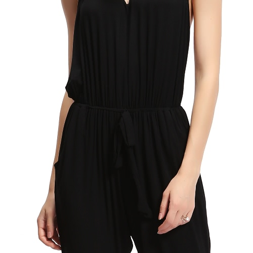 Women Sexy Jumpsuit Rompers Halter Neck Backless Sleeveless Pockets Elastic Waist Long Pants Playsuit BlackApparel &amp; Jewelry<br>Women Sexy Jumpsuit Rompers Halter Neck Backless Sleeveless Pockets Elastic Waist Long Pants Playsuit Black<br>