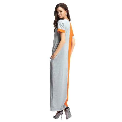 New Fashion Women Dress Contrast Color Pocket O-Neck Short Sleeve Casual Loose Long Maxi Dress OrangeApparel &amp; Jewelry<br>New Fashion Women Dress Contrast Color Pocket O-Neck Short Sleeve Casual Loose Long Maxi Dress Orange<br>