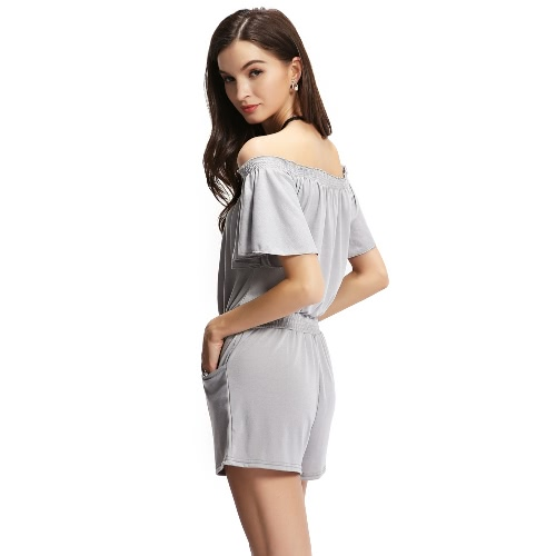 New Fashion Women Off the Shoulder Jumpsuit Elastic Waistband Front Pockets Romper Playsuit GreyApparel &amp; Jewelry<br>New Fashion Women Off the Shoulder Jumpsuit Elastic Waistband Front Pockets Romper Playsuit Grey<br>