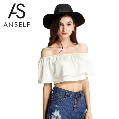 New Fashion Women Crop Top Boho Off The Shoulder Stretch Trim Frilled Overlay Solid Casual Tops BeigeApparel &amp; Jewelry<br>New Fashion Women Crop Top Boho Off The Shoulder Stretch Trim Frilled Overlay Solid Casual Tops Beige<br>