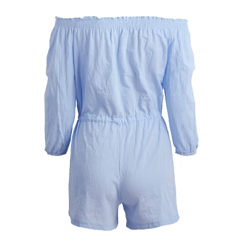 New Women Summer Jumpsuit Elastic Slash Neck Three Quarter Sleeves Self-tie Waist Casual Short Playsuit Light BlueApparel &amp; Jewelry<br>New Women Summer Jumpsuit Elastic Slash Neck Three Quarter Sleeves Self-tie Waist Casual Short Playsuit Light Blue<br>