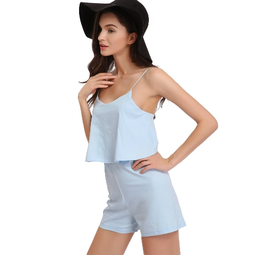 New Fashion Women Jumpsuits Ruffles Open Back Adjustable Spaghetti Straps Zipper Elastic Sleeveless Rompers Playsuit BlueApparel &amp; Jewelry<br>New Fashion Women Jumpsuits Ruffles Open Back Adjustable Spaghetti Straps Zipper Elastic Sleeveless Rompers Playsuit Blue<br>