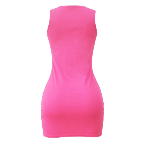 Sexy Women Bodycon Dress Cross Strap Solid Color Sleeveless Party Mini Strappy Dress Black/Grey/Rose