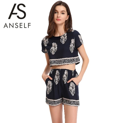Floral Print Short Sleeve Crop Top Elastic Waist Shorts Womens Two Piece SetApparel &amp; Jewelry<br>Floral Print Short Sleeve Crop Top Elastic Waist Shorts Womens Two Piece Set<br>