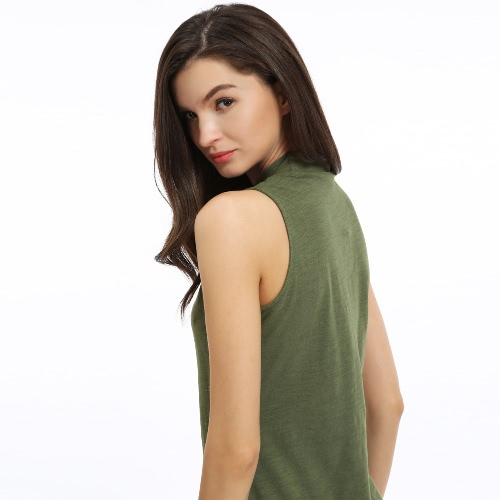New Fashion Women Solid Mini Dress Turtleneck Sleeveless Cotton A-Line Dress GreenApparel &amp; Jewelry<br>New Fashion Women Solid Mini Dress Turtleneck Sleeveless Cotton A-Line Dress Green<br>