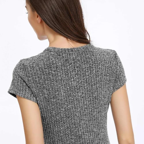 New Fashion Women Knitted Dress Round Neck Short Sleeves Slim Mini Dress GreyApparel &amp; Jewelry<br>New Fashion Women Knitted Dress Round Neck Short Sleeves Slim Mini Dress Grey<br>