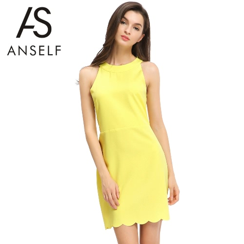 New Fashion Women Dress Hollow Out Scallop Hem Back Zipper Button Closure Round Neck Cold Shoulder Mini Dress Yellow