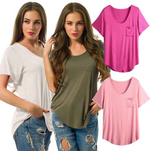 Women Plus Size T-Shirt Chest Pocket Casual Tunic Top Solid Color Loose TeeApparel &amp; Jewelry<br>Women Plus Size T-Shirt Chest Pocket Casual Tunic Top Solid Color Loose Tee<br>