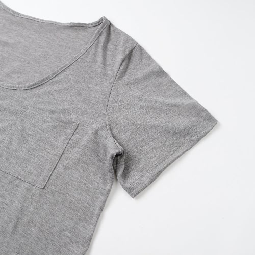Women Plus Size T-Shirt Chest Pocket Casual Tunic Top Solid Color Loose Tee GreyApparel &amp; Jewelry<br>Women Plus Size T-Shirt Chest Pocket Casual Tunic Top Solid Color Loose Tee Grey<br>
