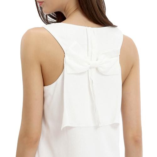 New Fashion Women Sleeveless Chiffon Dress Solid Color Bow Party Mini Straight Dress Summer Casual Sundress White