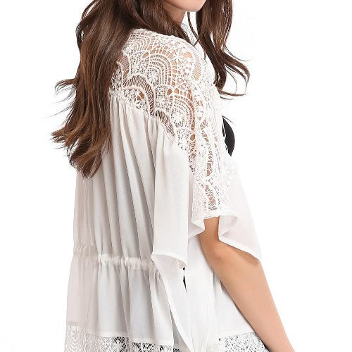 New Women Chiffon Outerwear Open Front Floral Crochet Bat Sleeves Drawstring Thin Loose Beach Cover Up WhiteApparel &amp; Jewelry<br>New Women Chiffon Outerwear Open Front Floral Crochet Bat Sleeves Drawstring Thin Loose Beach Cover Up White<br>