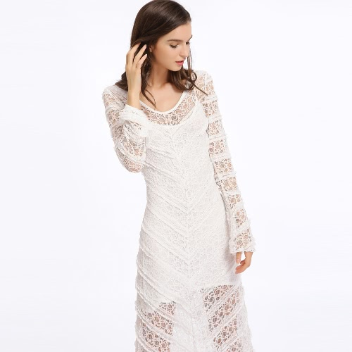 New Fashion Women Dress Sheer Lace Round Neck Flare Sleeve Maxi Swing Long Dress WhiteApparel &amp; Jewelry<br>New Fashion Women Dress Sheer Lace Round Neck Flare Sleeve Maxi Swing Long Dress White<br>