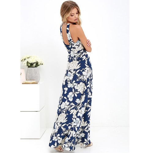 New Sexy Women Maxi Dress Halter Neck Floral Print Sleeveless Summer Beach Holiday Long Slip Dress Blue/BlackApparel &amp; Jewelry<br>New Sexy Women Maxi Dress Halter Neck Floral Print Sleeveless Summer Beach Holiday Long Slip Dress Blue/Black<br>