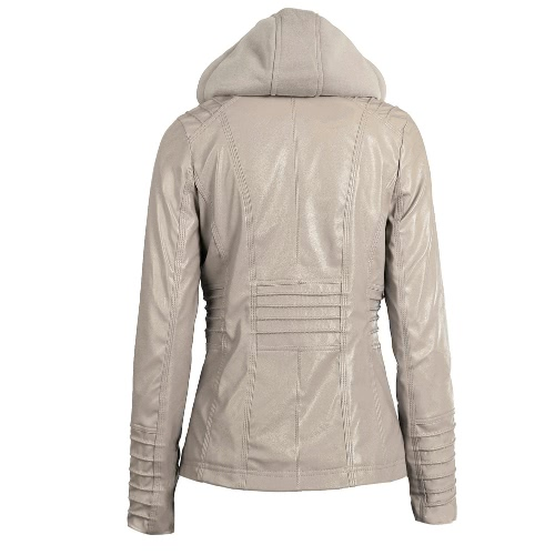 Womens Faux Leather Hooded Jacket Zippered Hoodie Short Slim Motorcycle Jacket CoatApparel &amp; Jewelry<br>Womens Faux Leather Hooded Jacket Zippered Hoodie Short Slim Motorcycle Jacket Coat<br>