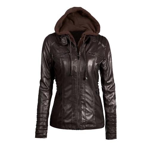 Womens Faux Leather Hooded Jacket Zippered Hoodie Short Slim Motorcycle Jacket CoatApparel &amp; Jewelry<br>Womens Faux Leather Hooded Jacket Zippered Hoodie Short Slim Motorcycle Jacket Coat<br>