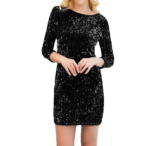 New Sexy Women Sequin Bodycon Dress Round Neck 3/4 Sleeve Plunge Back Party Evening Mini Club DressApparel &amp; Jewelry<br>New Sexy Women Sequin Bodycon Dress Round Neck 3/4 Sleeve Plunge Back Party Evening Mini Club Dress<br>