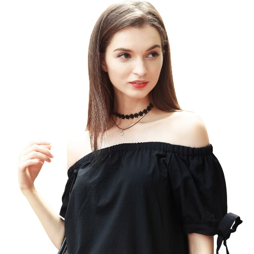 New Fashion Women Dress Slash Neck Self Tie Cuff Off Shoulder Short Sleeves Casual Loose Dress BlackApparel &amp; Jewelry<br>New Fashion Women Dress Slash Neck Self Tie Cuff Off Shoulder Short Sleeves Casual Loose Dress Black<br>