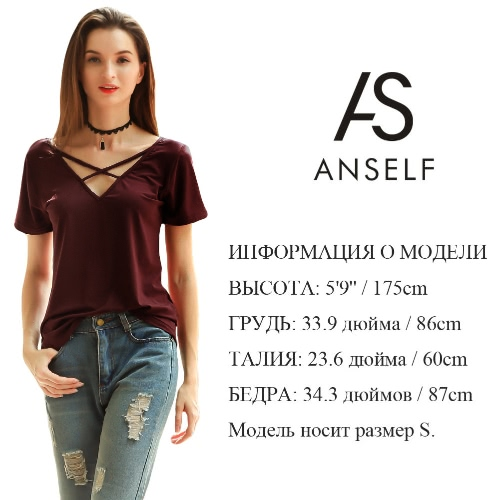 New Women Cotton T-shirt Solid Crossed Bandage V-Neck Short Sleeves Pullover Casual Blouse Top BurgundyApparel &amp; Jewelry<br>New Women Cotton T-shirt Solid Crossed Bandage V-Neck Short Sleeves Pullover Casual Blouse Top Burgundy<br>