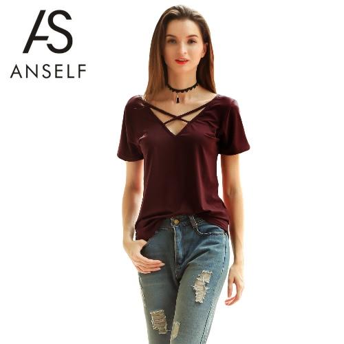 Las nuevas mujeres Camiseta de algodón sólido del vendaje cruzado con cuello en V manga corta de sudadera Casual top de la blusa de Borgoña