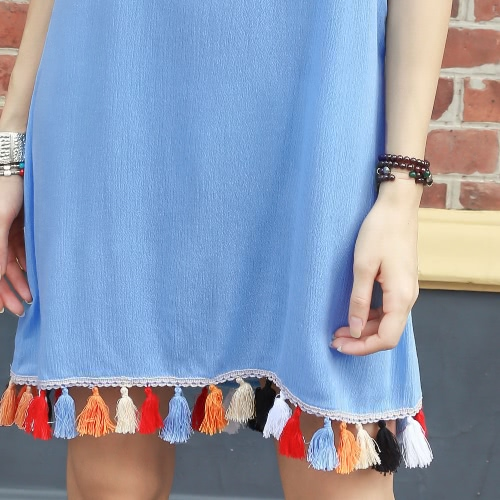 Women Cami Slip Dress Tassel Trim Spaghetti Strap Sleeveless Short Mini Dress Blue