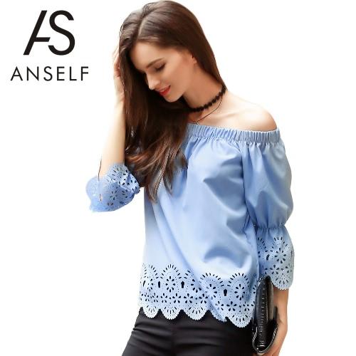 Las nuevas mujeres del hombro de la camiseta floral ahueca hacia fuera la blusa de la manga de tres cuartos de la llamarada azul superior