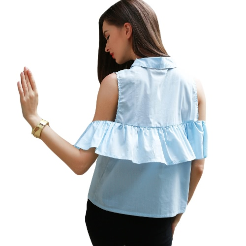 New Fashion Women Cold Shoulder Blouse Ruffle Overlay Button Turn-down Collar Shirt BlueApparel &amp; Jewelry<br>New Fashion Women Cold Shoulder Blouse Ruffle Overlay Button Turn-down Collar Shirt Blue<br>