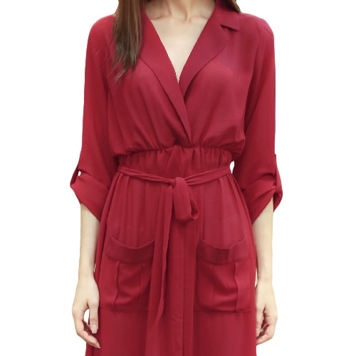 Sexy Women Chiffon High Split Dress V Neck Long Sleeves Pockets Beach Party Maxi Dress BurgundyApparel &amp; Jewelry<br>Sexy Women Chiffon High Split Dress V Neck Long Sleeves Pockets Beach Party Maxi Dress Burgundy<br>