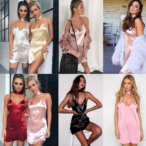 New Sexy Women Slip Dress Deep V-Neck Criss Cross Choker Spaghetti Strap Silk Satin A-Line Shiny Party Mini DressApparel &amp; Jewelry<br>New Sexy Women Slip Dress Deep V-Neck Criss Cross Choker Spaghetti Strap Silk Satin A-Line Shiny Party Mini Dress<br>