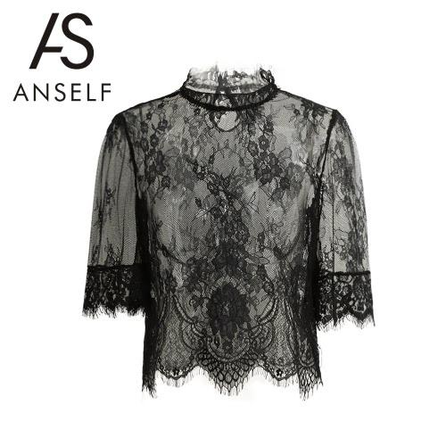 Nuevas mujeres atractivas blusa pura del bordado del alto cuello de la media manga de malla de encaje camisa de Clubwear tapa Negro
