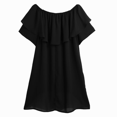 New Fashion Women Chiffon Off-Shoulder Blouse Slash Neck Ruffle Dip Hem Casual Top BlackApparel &amp; Jewelry<br>New Fashion Women Chiffon Off-Shoulder Blouse Slash Neck Ruffle Dip Hem Casual Top Black<br>