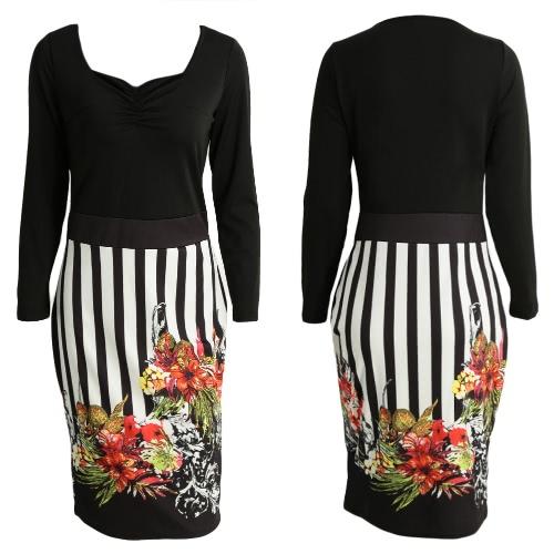 New Women Midi Dress Floral Print Stripe Long Sleeves Zipper Skinny Elegant Party DressApparel &amp; Jewelry<br>New Women Midi Dress Floral Print Stripe Long Sleeves Zipper Skinny Elegant Party Dress<br>